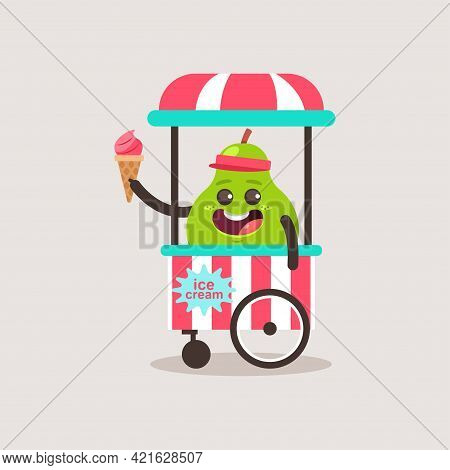 Cute Pear Vendor Ice Cream In The Cart. Vector Cartoon Funny Fruit Character Isolated On Background.