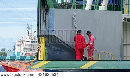 Labuan Ft,malaysia-june 3,2019:worker On Duty At Docking On The Ro Ro Passenger And Vehicle Ferry Sh