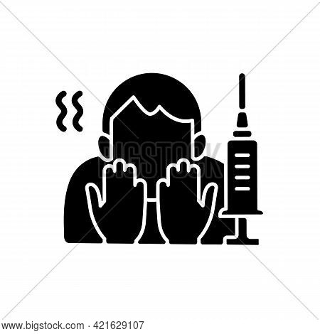 Fear Of Vaccination Black Glyph Icon. Phobia Of Injection. Afraid Of Syringe Needles. Health Treatme