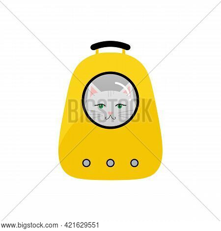 Cute Cartoon Style Vector Illustration With White Cat Sitting In Yellow Rucksack Bag, Backpack, Pet