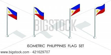 Isometric Flag Of Republic Of Philippines In Static Position And In Motion On Flagpole. 3d Vector