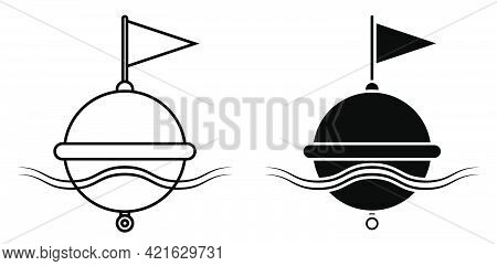 Restrictive Sea Buoy Icon On Waves. Regulation And Safety Of Shipping In Ocean. Black And White Simp