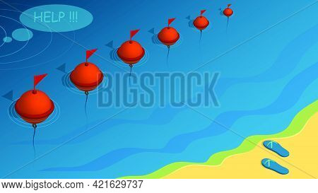 Restrictive Buoys On Water. Man Drowns And Asks For Help. Violation Of Safety Rules On Vacation. Con