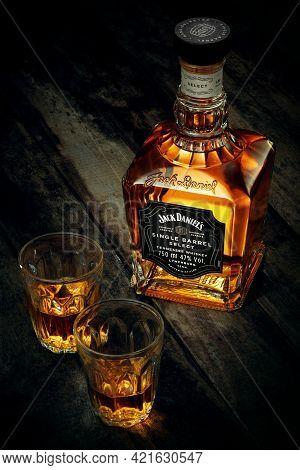 Phuket, Thailand- Jan 2021. Jack Daniel's Blended Whisky On Grey Background. Jack Daniel's Is A Bran