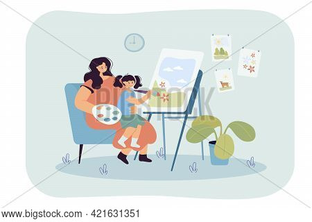 Mother And Daughter Drawing Together. Flat Vector Illustration. Woman Painting On Easel With Little