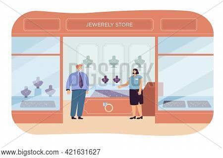 Jewellery Store Flat Vector Illustration. Saleswoman And Rich Customer Standing In Luxury Shop Inter