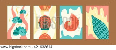 Illustration Set For Marine Concept In Creative Style. Seashore Images Set In Pastel Colors. Cute Se