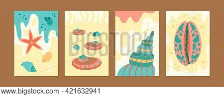 Colorful Seashore Collection Of Contemporary Art Posters. Marine Images In Pastel Colors. Cute Seash