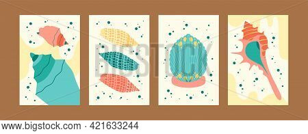 Bright Collection Of Seashell Illustrations. Seashore Images Set In Creative Style. Cute Seashells O