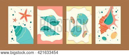 Sea World Illustration Set In Pastel Colors. Marine Images Collection In Pastel Colors. Cute Seashel