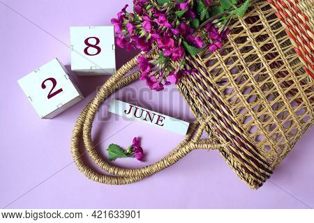 Calendar For June 28: Cubes With The Number 28 , The Name Of The Month Of June In English, A Wicker