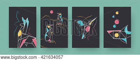 Set Of Contemporary Art Posters With Llama And Shark. Paper Hummingbird, Penguins Vector Illustratio