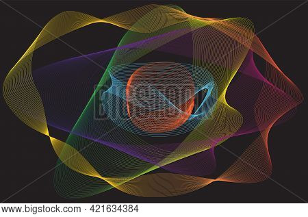 Abstract Linear Colorful Background. High Saturated Gradients. Different Geometrical Shapes