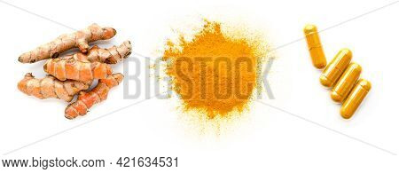 Three Kinds Of Dry Organic Turmeric Or Curcumin Product Consistetd Of Fresh Root, Powder, And Contai