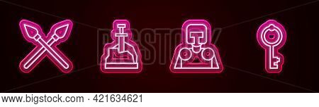 Set Line Crossed Medieval Spears, Sword In The Stone, Medieval Knight And Old Key. Glowing Neon Icon