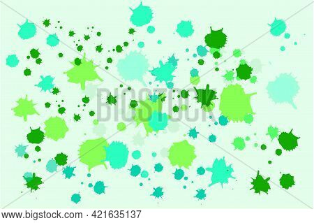 Abstract Ink Splatter In Green Art Background . Colorful Texture. Bright Spring And Summer Colours.