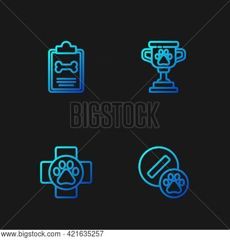 Set Line Dog Pill, Veterinary Clinic, Clinical Record Pet And Pet Award. Gradient Color Icons. Vecto