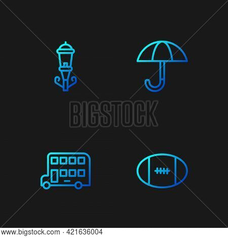 Set Line Rugby Ball, Double Decker Bus, Vintage Street Light And Umbrella. Gradient Color Icons. Vec