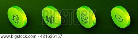 Set Isometric Line Sherlock Holmes, Big Ben Tower, Football Ball And Rugby Icon. Vector