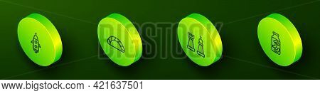 Set Isometric Line Rocket Ship, Dumpling, Chess And Pickled Cucumbers A Jar Icon. Vector