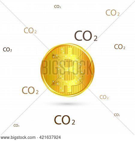 Crypto Carbon Footprint, Vector Art Illustration Industry.