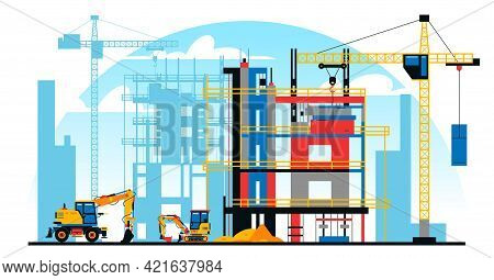 A Building Under Construction Against The Background Of A City Under Construction. A Site With Heavy