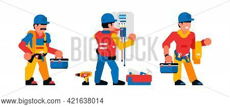 A Set Of Workers Working With Electricity. Electricians, Toolbox, Shield, Wires, Switch, Transformer