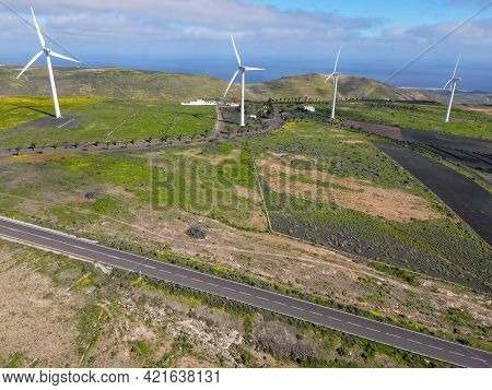 Wind Farm On Canary Island In Lanzarote, Spain