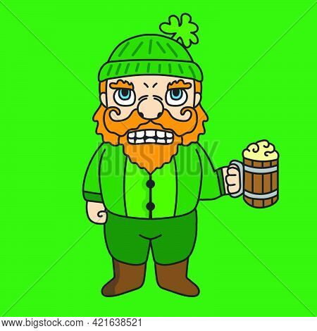 St Patrick's Dwarf Mascot Cartoon Character Illustration Drinking A Glass Of Beer. Suitable For Stic