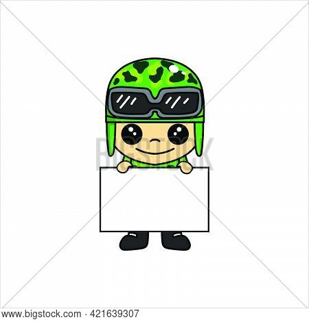 Mascot Illustration Of Cute Soldier Or Soldier Cartoon Character With Whiteboard