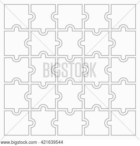 Twenty Five Blank Puzzle Pieces. Puzzle For Web, Information Or Presentation Design, Infographics. W