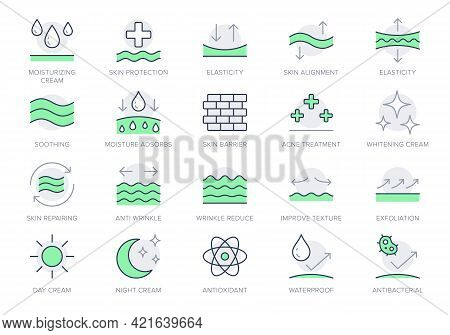 Cosmetic Properties Line Icons. Vector Illustration Include Icon - Day Cream, Moisture, Dermatology,