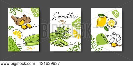 Smoothie Ingredients Wall Decor Or Poster With Ginger, Lemon, Celery. Vegetables Wall Line Art Decor