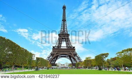 Eiffel Tower in Paris in France. Panoramic view