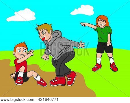 Illustration Of A Drawing Of Naughty Children Bullying A Child In A Field For A Children's Book