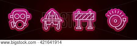 Set Line Gas Mask, Firefighter Helmet, Road Barrier And Ringing Alarm Bell. Glowing Neon Icon. Vecto