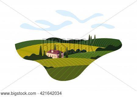 Vineyard Wine Grape Hill Farm Banner Concept Sign. Romantic Rural Landscape In Sunny Day With Villa,