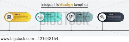 Set Line Hairbrush, Dryer, Blade Razor And Washbasin Mirror. Business Infographic Template. Vector