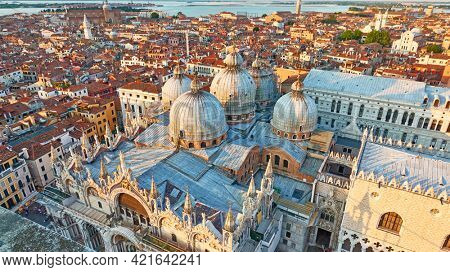 Venice city with domes of Cathedral Basilica of Saint Mark. Venetian panoramic view