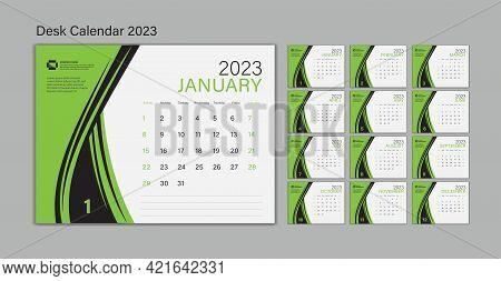 Set Desk Calendar 2023 Template Vector, Planner Design, Wall Calendar 2023 Year, Poster, Week Start