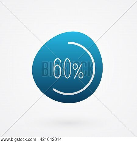60 Percent Isolated Pie Chart. Vector Infographic Gradient Icon. Sign For Business, Finance, Web Des