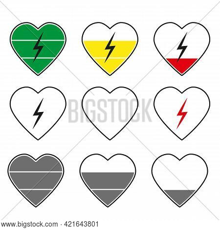 Colorful Heart Charge Level Vector Graphics Icon Collection Flat Sty