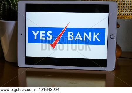 May 2021 Milan, Italy: Yes Bank Company Logo Icon Close-up On Tablet Screen. Yes Bank Illustrative B