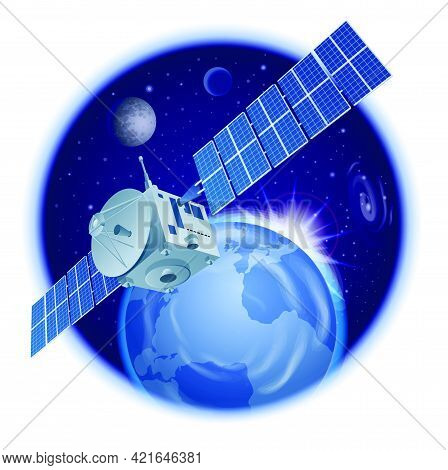 Illustration Of The Space Orbital Satellite In The Outer Space