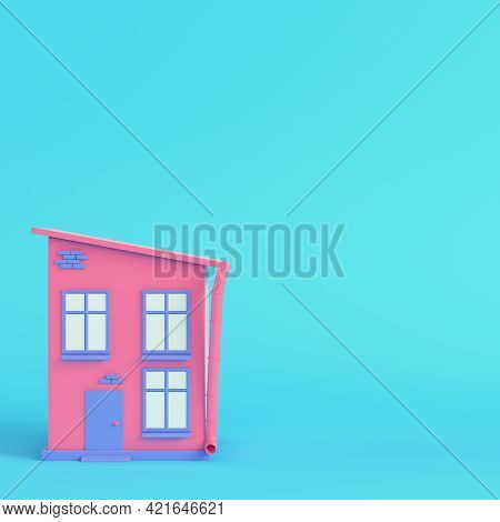 Pink Cartoon Styled House On Bright Blue Background In Pastel Colors. Minimalism Concept. 3d Render