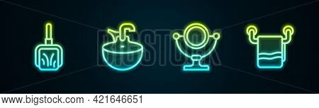 Set Line Dustpan, Washbasin, Round Makeup Mirror And Towel On Hanger. Glowing Neon Icon. Vector