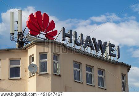 Poland, Poznan - May 08, 2021: Huawei Logo, Sing On A Building.