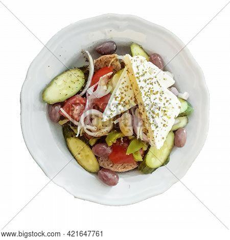 Greek Salad Dish Top View