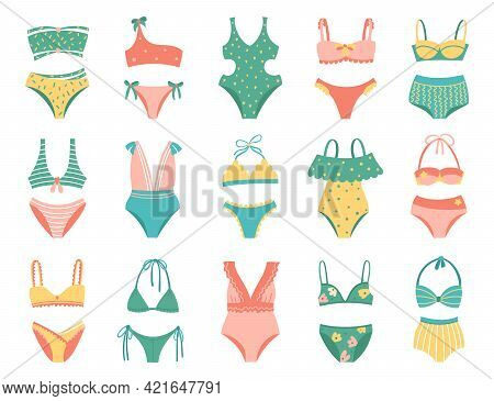 Collection Of Women Swimwear Isolated On White Background. Set Of Different Types Of Swimsuits Or Bi