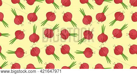 Cute Smiling Cartoon Style Onion, Onion Bulb Vegetable Characters And Hearts Vector Pattern Backgrou